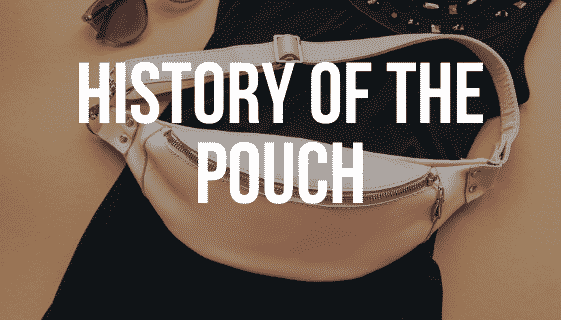 """Pink pouch on black dress and sunglasses with the words """"short history of the pouch"""""""