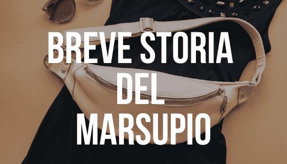 """Marsupio rosa su vestito nero e occhiali da sole con scritta """"breve storia del marsupio"""""""